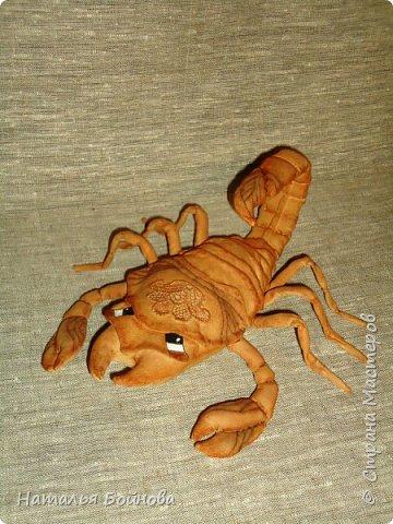 Давно хотела сшить такого скорпиона в технике грунтованный текстиль по м.к. Анастасии Голеневой)) фото 1