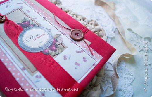Как же сложно было в этот раз делать работу...не потому что разучилась, а потому что еле нашла бумагу с изображением ягод в своих закромах:) НО, кто ищет, тот всегда найдёт:) Нашла лист скрапбумаги от Scrapberrys с птичками, листочками, цветочками и ягодками + бумажку от Fleur Designc c вишенками!!!! Ура!!! Они дождались своего часа:) фото 3