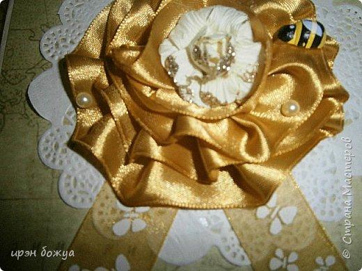 Открытка на день рождение сотрудницы. использовала салфетки,ленты,самодельный цветок из ленты. фото 2
