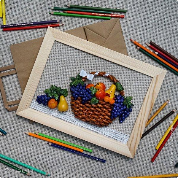 Всем привет))) Слепилась у меня тут парочка работ)))) Корзинка с фруктами, 21х30   фото 1