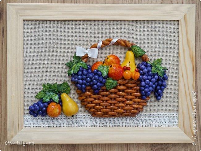 Всем привет))) Слепилась у меня тут парочка работ)))) Корзинка с фруктами, 21х30   фото 2