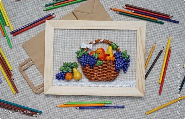 Всем привет))) Слепилась у меня тут парочка работ)))) Корзинка с фруктами, 21х30   фото 8