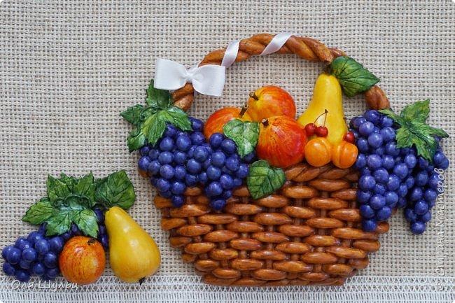 Всем привет))) Слепилась у меня тут парочка работ)))) Корзинка с фруктами, 21х30   фото 3