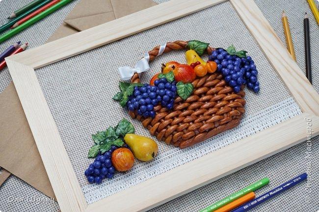 Всем привет))) Слепилась у меня тут парочка работ)))) Корзинка с фруктами, 21х30   фото 6