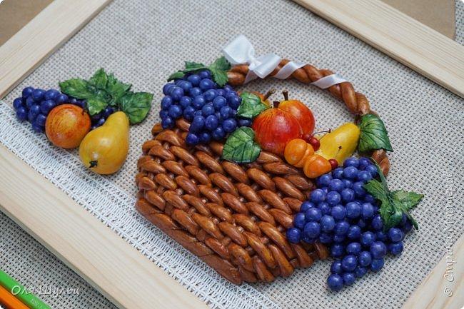 Всем привет))) Слепилась у меня тут парочка работ)))) Корзинка с фруктами, 21х30   фото 7