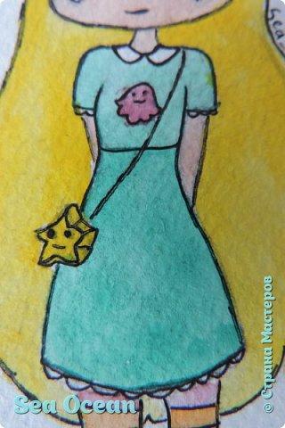"""Хееей~ Всем привет)) Я вернулася с работаю на конкурся~ Кхе-кхе... Ладно, буду писать нормально:) В общем я решила принять участие в конкурсе Оленьки Цветковой """"Диснеевские персонажи в аниме"""" (ссылочка: http://stranamasterov.ru/node/1025342). Ну, наверное, многие не понимают... И кого же я нарисовала? Я нарисовала звездную принцессу, Стар Баттерфлай, из измерения Мьюни, посланную на землю, чтобы жить с семьей Диаз после того, как она неудачно использовала подаренную ей волшебную палочку... Хе-хе))  Да, Стар - диснеевский перс. Не смотря на то, что на российском канале Дисней этот мультик пока не вышел, его уже достаточно давно показывают на Disney XD и он набирает все большую популярность.  фото 3"""