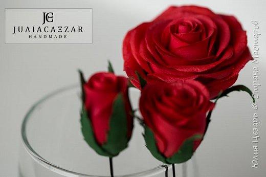 Шпильки с розами из фоамирана  фото 3