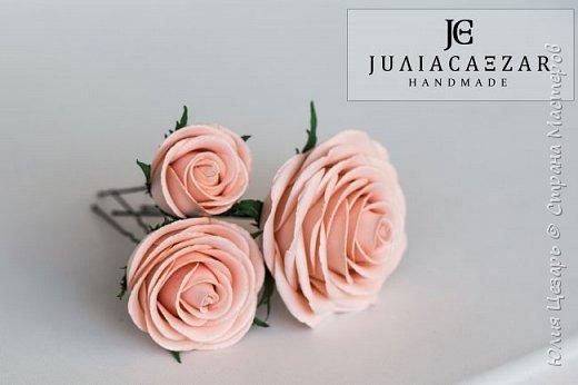Шпильки с розами из фоамирана  фото 4