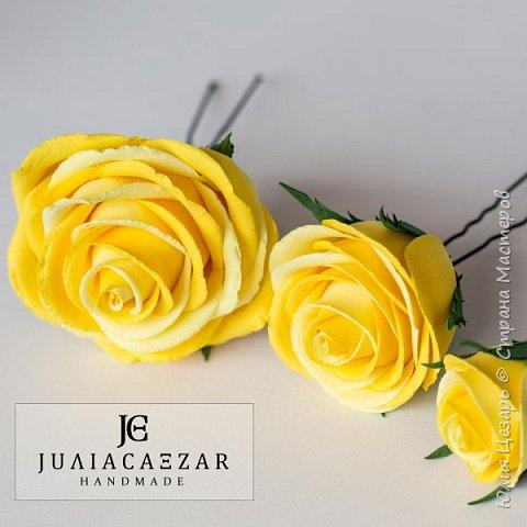 Шпильки с розами из фоамирана  фото 7
