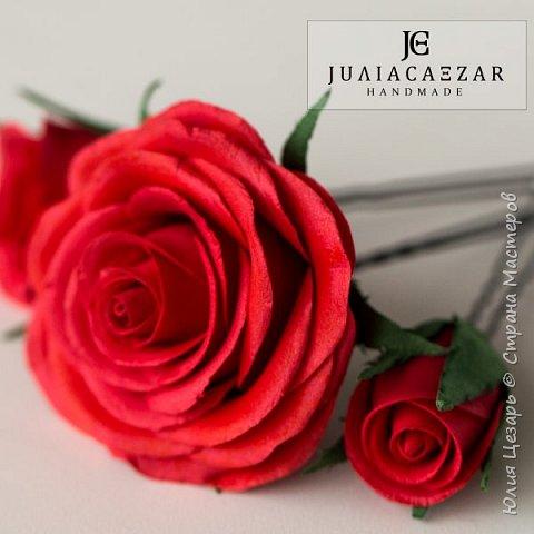 Шпильки с розами из фоамирана  фото 8