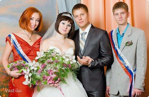"""Работа совместная (человечков и птичек курутила другая девушка). Друзья пригласили на свадьбу, оформленную в стиле """"прованс"""" (белые, зеленые, филолетовые цвета). Мы решили подарить им картинку в том же стиле.   фото 5"""