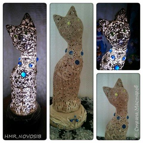 Добрый вечер дорогие друзья и милые мои соседи! Перед вами мое новое творение - джутовый котик - светильник. Завтра день рожденье у моей подруги и это ей подарок. Моя подруга ярая кошатница, поэтому думаю подарок ей придется по душе. фото 1