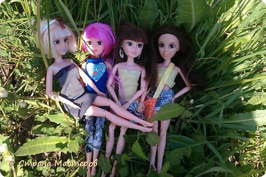я хотела эти фотографии разделить на разные блоги, но видимо не судьба... здесь все красоточки вместе ( уже 4!!!) Сразу предупреждаю модераторов что повод- я сшила новую одежду для всех кукляш. для Лины -топ с удлиннением( не знаю как называется) и пышная юбка, для Эллы-сарафанчик и сделала ободок, для Эшли- платье с пышным низом, а для Мили- вроде как топ на завязках и леги. фото 7