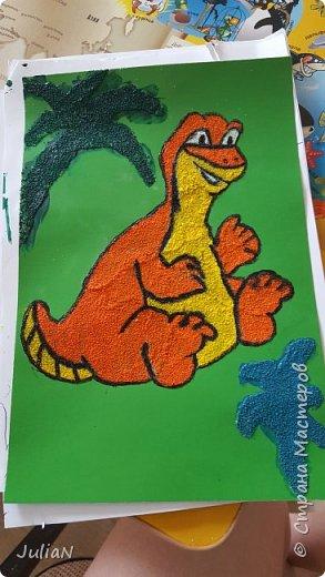 Динозаврик из манки, делали вместе с сыном. фото 2