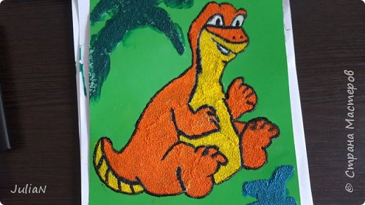 Динозаврик из манки, делали вместе с сыном. фото 1