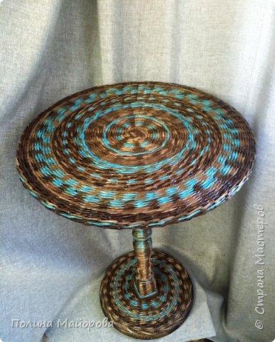 Добрый вечер, дорогие друзья!  Хочу показать Вам последнюю свою работу: плетеный стол. Я влюблена в него!  фото 3