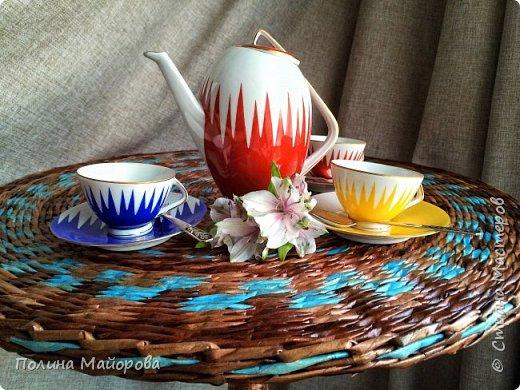 Добрый вечер, дорогие друзья!  Хочу показать Вам последнюю свою работу: плетеный стол. Я влюблена в него!  фото 7
