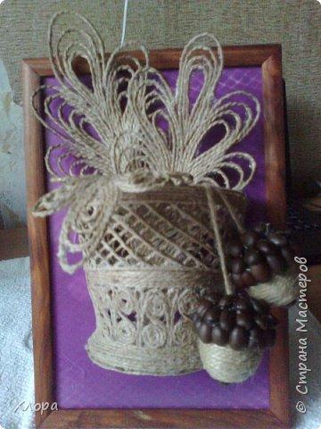 Такое вот панно с элементами джутовой филиграни подарила на День учителя любимой снохе. фото 1
