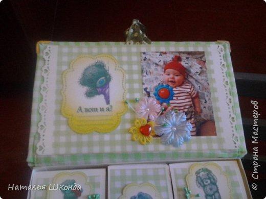 Мамины сокровища сделаны на заказ для мальчика.Делала первый раз.Коробка- книжка, сделана из плотного картона, верх тканевый , мягкий(под тканью синтепон).Ткань прострочена по краям.В своих запасах нашла уголочки металлические, пригодились... фото 4