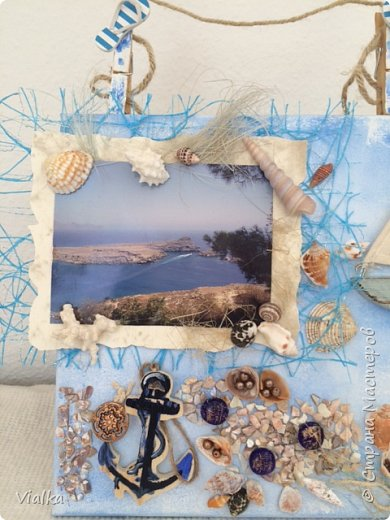 """решила создать """"морское настроение"""" ,так как набралось очень много ракушек за годы отдыха. Выбрала с давнего путешествия  фото с острова Родос и оформила в легком морском стиле. И вот что получилось. фото 2"""
