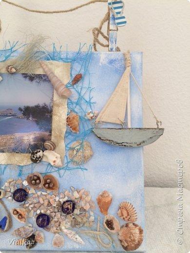 """решила создать """"морское настроение"""" ,так как набралось очень много ракушек за годы отдыха. Выбрала с давнего путешествия  фото с острова Родос и оформила в легком морском стиле. И вот что получилось. фото 3"""