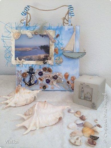 """решила создать """"морское настроение"""" ,так как набралось очень много ракушек за годы отдыха. Выбрала с давнего путешествия  фото с острова Родос и оформила в легком морском стиле. И вот что получилось. фото 4"""