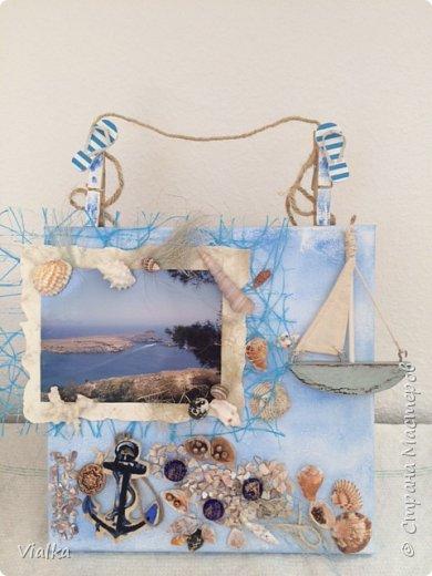 """решила создать """"морское настроение"""" ,так как набралось очень много ракушек за годы отдыха. Выбрала с давнего путешествия  фото с острова Родос и оформила в легком морском стиле. И вот что получилось. фото 1"""