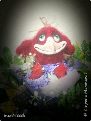 Птичка красная с хохолком)) (сухое валяние) а источник вдохновления http://stranamasterov.ru/node/993051 - спасибо ей за прекрасные работы фото 5