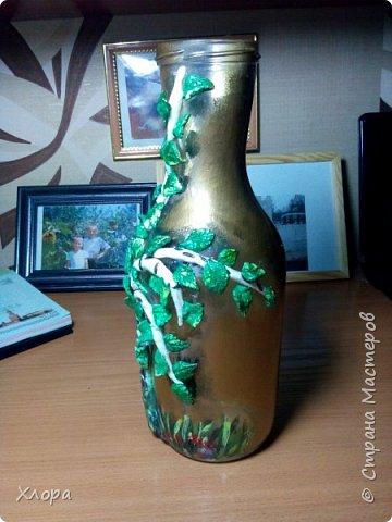 Интерьерная бутылочка. Исходный цвет черный. Как всегда, краска из баллончика и контуры. фото 12