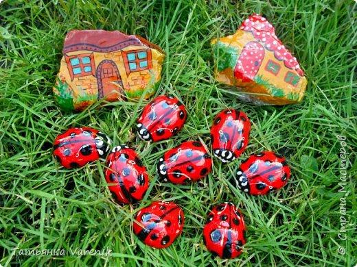 Даже камни можно сделать живее, красочней и прикольней, если с ними совсем немного поработать! Божьи коровки  это отливки из гипса.В качестве формы использовала пластиковые контейнеры от КиндерДжой. фото 1