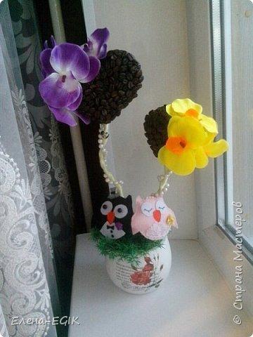 Представляю вам наш свадебный топиарий. Свадьба будет в фиолетово-желтом цвете, поэтому и орхидеи подобраны и этой гамме) фото 3