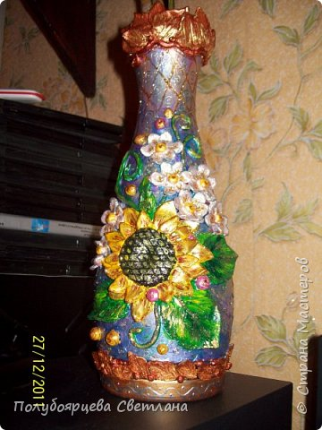 Декор бутылок в разных техниках фото 9