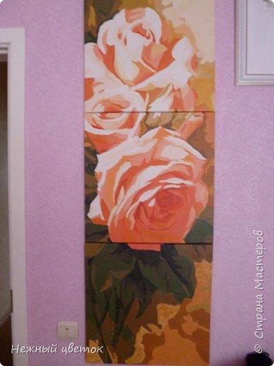 Вот такой букет из роз у меня получился. Размер картины 50х150 см.