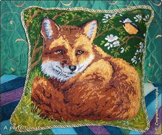 """Вышитая крестиком подушка """"Лиса"""". Подарок от мамочки."""