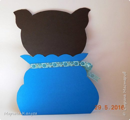 """Добрый день! Моя первая открытка- """"Кот в мешке"""" по МК Ольги Краевой. фото 4"""