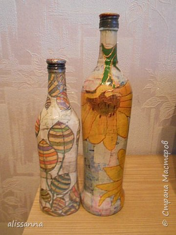 Доброе время суток...жители Страны....))))) Решила показать свои работы....вот такие бутылочки у меня получились...не судите строго...))))) фото 2