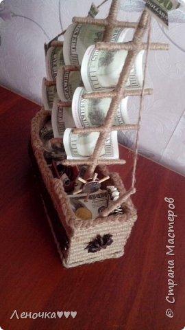 Корабль из кофе и шпагата,коктельных трубочек фото 3