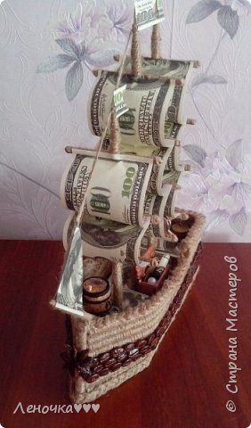 Корабль из кофе и шпагата,коктельных трубочек фото 4