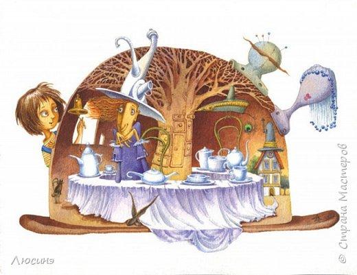 """5 лет назад я влюбилась в творчество художников-иллюстраторов Дмитрия Непомнящего и Ольги Попугаевой. Работаю логопедом, увидела их замечательные иллюстрации в детской энциклопедии. И с этого момента я начала лепить рыбок-мультяшек, на которые меня вдохновили именно эти художники (результаты можете посмотреть в конце поста). Начала искать в работы Дмитрия и Ольги в интернете, и встретила своего ненаглядного """"Шляпочника"""".  Поделилась идеей со своей лучшей подругой по жизни Светланой ШиШиКиНой http://stranamasterov.ru/user/37316. И договорились мы, что одновременно будем лепить эту прелесть... Светочка-то слепила быстро и классно http://stranamasterov.ru/node/345560, а вот я задержалась за отсутствием времени (всего-то на 4 года). И вот удача - недавно меня попросили сделать на подарок ко дню Рождения для замечательной разноплановой женщины панно (хотя мне это название работы не очень импонирует). Я предлагала разные варианты, но моя заказчица (о! счастье!) остановилась на Шляпочнике! И я это сделала!!! Очень рада и счастлива! Лепила с огромным  наслаждением! А что из этого получилось - посмотрите. фото 21"""