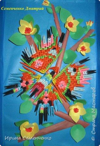 """Картина, сделанная из модульного оригами, """"Бабочка на ветке"""". Выполнил Семенченко Дмитрий."""
