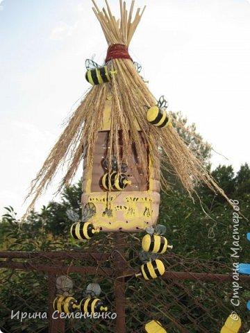 Пчелиные улики,какие поселились у меня дома. Понадобится 5 л бутылка, для пчёлок Киндерсюрпризы. Это мой первый улик. фото 4