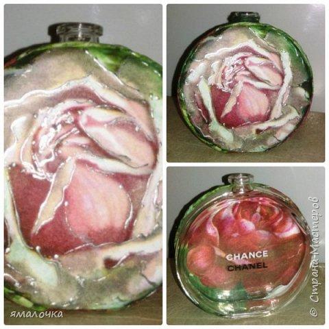 """Неделя вдохновения посетила меня. Долго любовалась на вазы, декорированные бутылочки.   Сначала попробовала """"обратный декупаж"""". фото 3"""