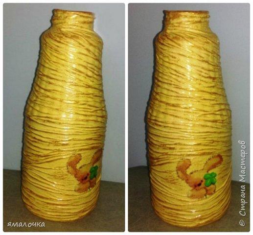 """Неделя вдохновения посетила меня. Долго любовалась на вазы, декорированные бутылочки.   Сначала попробовала """"обратный декупаж"""". фото 5"""