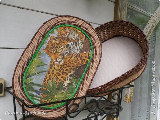 Добрый день дорогие жители СМ!!!! Хочу показать свои новые работы. Как только мне подарили овальное ведро как основу для плетения, мои работы теперь пока вот такой формы и она мне очень нравится. фото 21