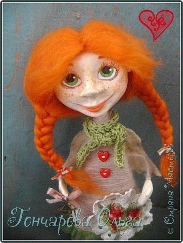 """""""Добруша"""" Рыжая девчушка, с зелеными,глазами.Удивительно добрый и ласковый ангелочек. Собирательница солнечных лучиков. Вестница яркого и теплого солнышка. 25 см. фото 5"""