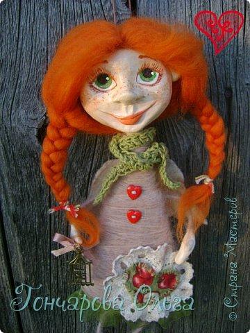 """""""Добруша"""" Рыжая девчушка, с зелеными,глазами.Удивительно добрый и ласковый ангелочек. Собирательница солнечных лучиков. Вестница яркого и теплого солнышка. 25 см. фото 1"""