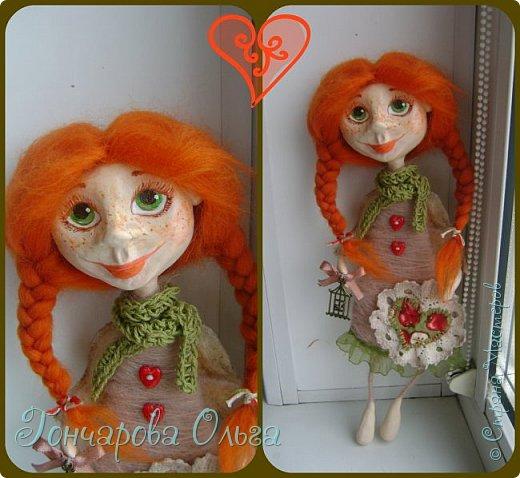 """""""Добруша"""" Рыжая девчушка, с зелеными,глазами.Удивительно добрый и ласковый ангелочек. Собирательница солнечных лучиков. Вестница яркого и теплого солнышка. 25 см. фото 7"""