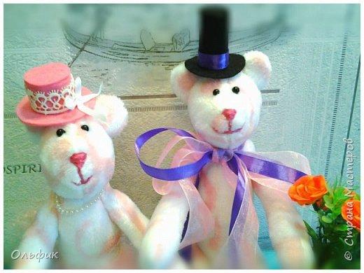 Вот такая парочка влюбленных мишек! Они получились очень мягкие и приятные на-ощупь. А сшиты из салфетки , продаются в Фикс прайсе, для уборки))). Ну кто ж такими убирается?!))) фото 2