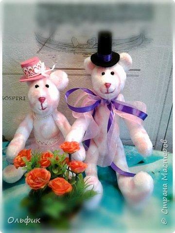 Вот такая парочка влюбленных мишек! Они получились очень мягкие и приятные на-ощупь. А сшиты из салфетки , продаются в Фикс прайсе, для уборки))). Ну кто ж такими убирается?!))) фото 1