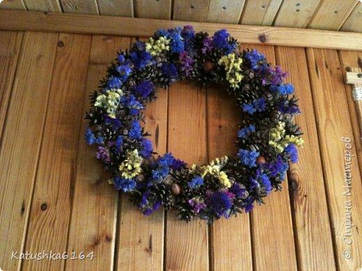 Основа  сплетена из виноградной лозы , шишки сосны, орешки , шишки кипариса, сухоцветы фото 1
